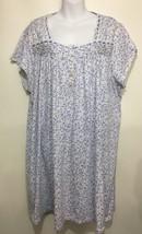 Eileen West Womens 3XL Blue Floral Cotton Blend Nightgown Knee-Length Ca... - $67.13