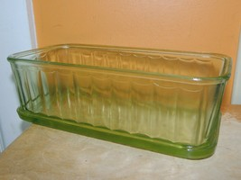 "Green Depression Glass Refrigerator Dish Storage Panel 8""x4"" Hocking? An... - $22.49"