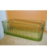 "Green Depression Glass Refrigerator Dish Storage Panel 8""x4"" Hocking? An... - $22.49"