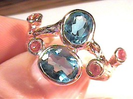 Natural LONDON BLUE TOPAZ 925 sterling silver pink gold RING 9 RUBY  R 1... - £39.45 GBP