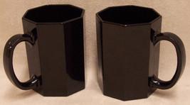 BLACK COFFEE MUGS OCTAGON Shape CERAMIC ARCOROC - $14.84