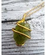 Her Golden Emerald necklace: Green Estonian sea glass with golden color ... - $32.00