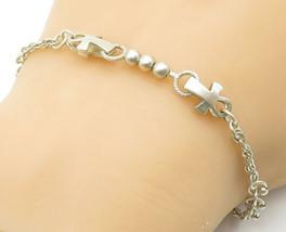 925 Sterling Silver - Vintage Petite Ankh Beaded Pattern Chain Bracelet ... - $26.93