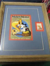 Framed-DISNEY 6 Cent Stamp W. Mickey Mouse Mag Cover #3.......SALE - $14.85
