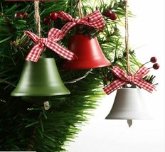 2PCS Jingle Bell Christmas Tree Decoration Round White Green Red Bell P... - $17.99