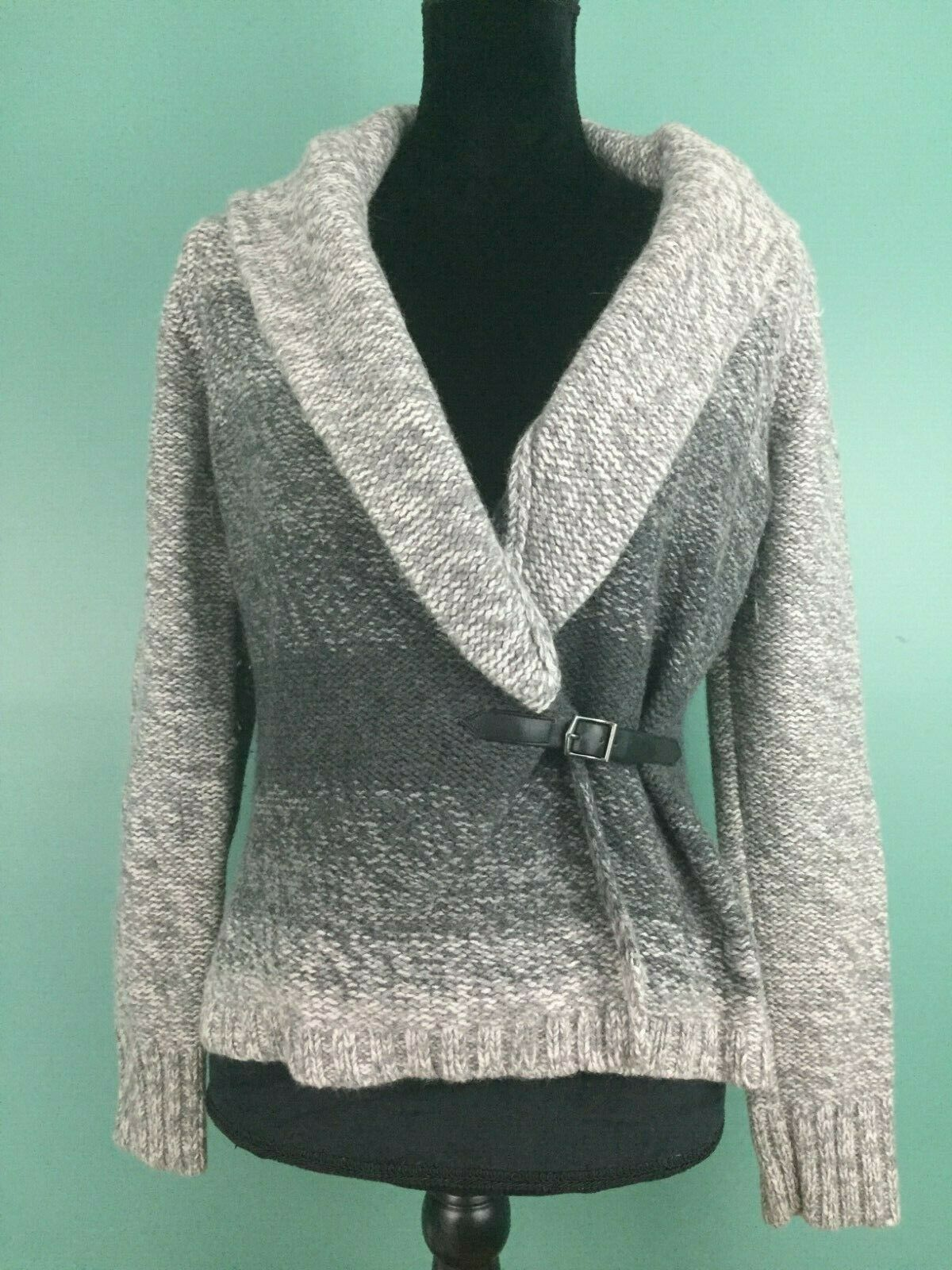 a5694238dbf 57. 57. Previous. Ann Taylor Loft Women s Buckle Waist Cardigan Sweater - Size  Small - Gray