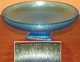 "Fenton 8.25""x 2.75"" Celeste Blue Iridescent Stretch Glass Bowl Footed onion skin - $53.99"