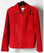 Charter Club Red Leather Zip Up Long Sleeve Jacket Size L - $49.99
