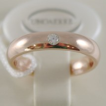 18K ROSE GOLD WEDDING BAND UNOAERRE COMFORT RING 4 MM, DIAMOND MADE IN ITALY image 1