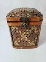 Vintage Brown Wicker Toilet Paper Napkin Holder Storage Container Tradit... - $55.88