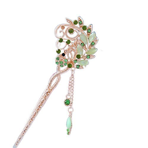 "5.9"" Chinese Traditional Metal Opal Fringe Ladies/ Girls Hair Stick, GREEN"