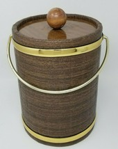 Vintage 1980s Ice Bucket Faux Wood Cover Brass Colored Handle Real Wood Lid - $14.80