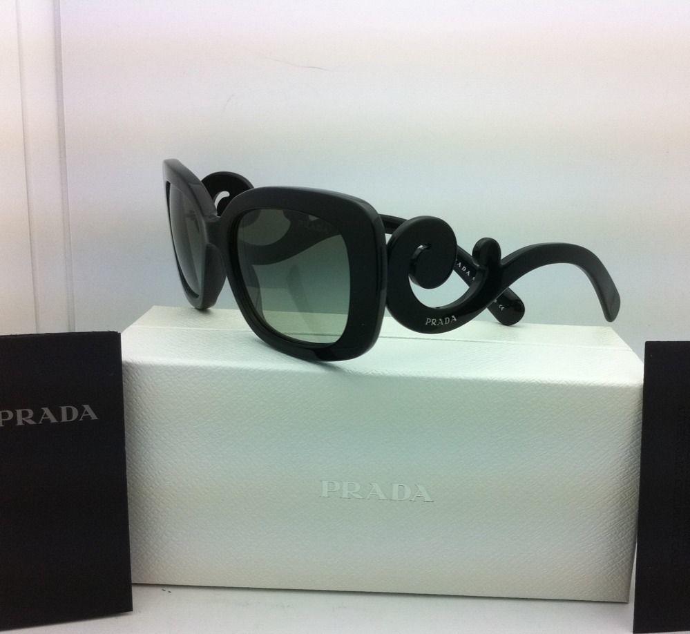 Nuevo Auténtico Prada Gafas de Sol Spr 27O 1ab-3m1 54-19 Negro W/ Gris Degradado