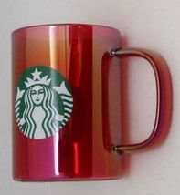 Starbucks 2019 Red Iridescent Rainbow Glass Coffee Tea Mug Cup 14oz clea... - $39.55