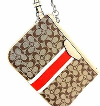 Auth Coach Signature Pleated METALIC Leather SMALL Wristlet Clutch Purse Pouch - $28.71