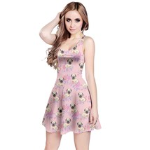 Women's Pug Dog Rose Printed Elastic Stretchy Swing Sleeveless Dress Size XS-5XL - $27.99+