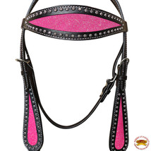 Hilason Western Horse Headstall Bridle American Leather Black Pink Inlay... - $63.31