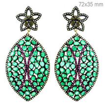 Emerald/Ruby Sterling Silver Pave 1.7ct Diamond 14k Gold Dangle Earrings... - $1,300.15