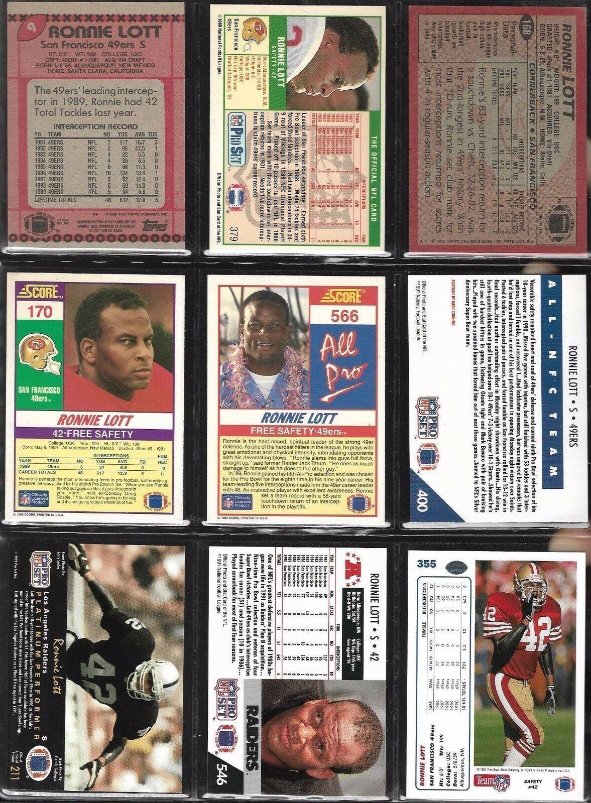 HOF Ronnie Lott San Francisco 49ers L.A. Raiders 1983-91 Topps Football Card Lot
