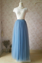 DUSTY BLUE Maxi Bridesmaid Tulle Skirt High Waist Full Length Blue Weddi... - $49.99
