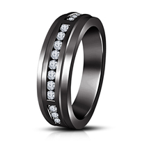Last-minute Christmas Shopping 925 Pure Silver Lab Diamond Mens Engagement Band - $85.36