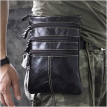 Men Vintage Leather Fanny Small Pouch Messenger Bag Zipper Organizer - $23.75