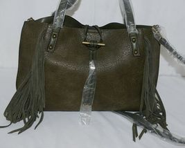 Simply Noelle Brand HB209 Sage Green Color Womens Fringed Toggle Loop Purse image 5