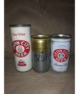 Lot Of 3 Iron City Beer Cans Big Iron 1 Pt Iron City Light 12 0z Pittsbu... - $15.04