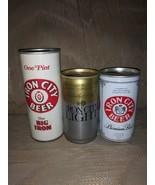 Lot Of 3 Iron City Beer Cans Big Iron 1 Pt Iron City Light 12 0z Pittsbu... - $15.04