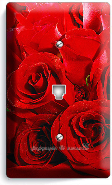 BEAUTIFUL RED ROSES BOUQUET PHONE TELEPHONE WALL PLATE COVER ROOM HOME ART DECOR