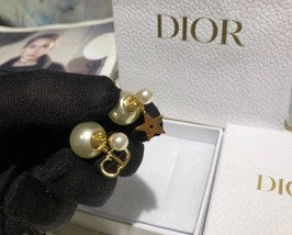 NEW Authentic Christian Dior 2019 CD LOGO STAR DANGLE DOUBLE PEARL Earrings image 4