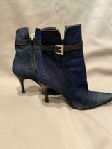 Stuart Weitzman Ankle Boots Dark Denim Black Leather Strap Buckle 6 - $57.77