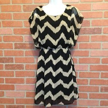 Womens Anthropologie Birdcage Dress Size M Sleeveless Black Beige Chevro... - $24.74