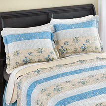 Stripe Floral Patchwork Quilted 2 Piece Pillow Sham Set, Blue, Sham  - $7.05