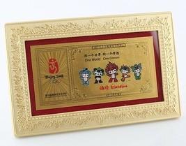 2008 Beijing Olympics Commemorative 999 pure Gold Card Framed Friendlies... - $356.39