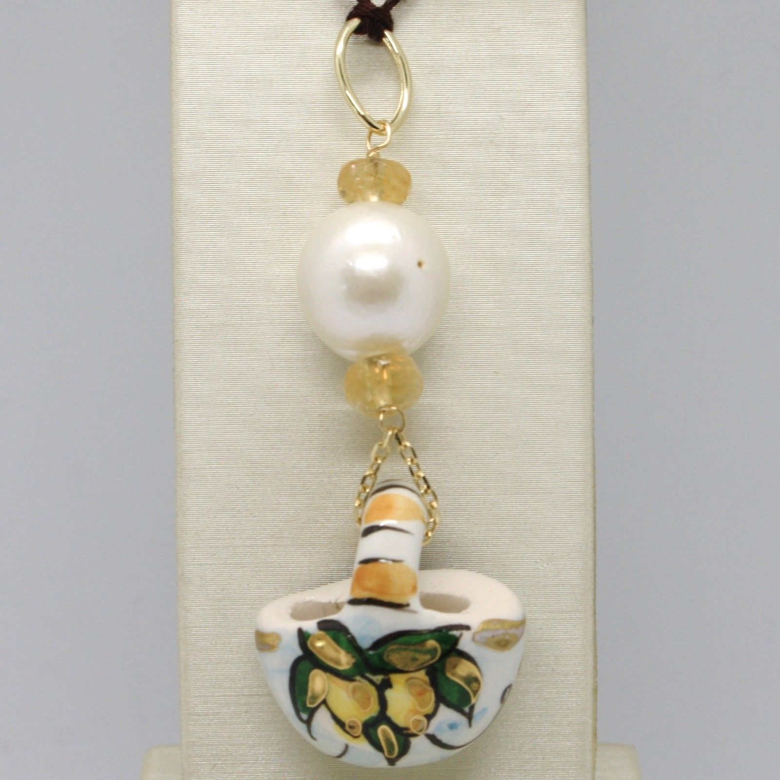 18K YELLOW GOLD PENDANT CITRINE, PEARL & CERAMIC LEMON BAG HAND PAINTED IN ITALY