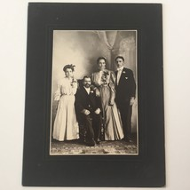 ca 1890 Matte Photo Wealthy Family w/ Mother Father Daughter Son - $12.25
