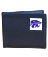 kansas state wildcats logo ncaa college leather bi-fold wallet made in usa - $31.58