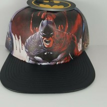 Batman DC Dark Knight Snapback Hat Faux Leather Pleather Bioworld Red Bl... - $19.79