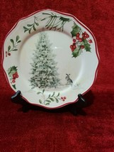 Better Homes & Gardens WINTER FOREST Tree Bunny Salad Plate Heritage Col... - $10.88