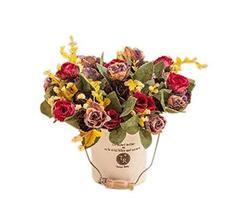 PANDA SUPERSTORE Nice Simulation Plant Artificial Colorful Rose Decorative Potte