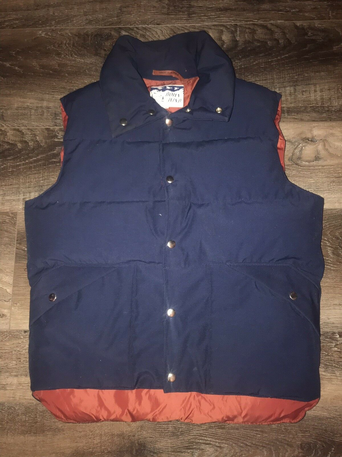 Primary image for DOWN WIND ~ VTG Men's Goose Down Filled Navy Blue Maroon Puffy Vest ~ M