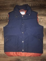 DOWN WIND ~ VTG Men's Goose Down Filled Navy Blue Maroon Puffy Vest ~ M - $23.36