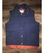 DOWN WIND ~ VTG Men's Goose Down Filled Navy Blue Maroon Puffy Vest ~ M - $23.36