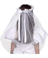 WHITE TULLE VEIL WITH BEADED FLOWER CROWN AND SATIN BOW - $29.00