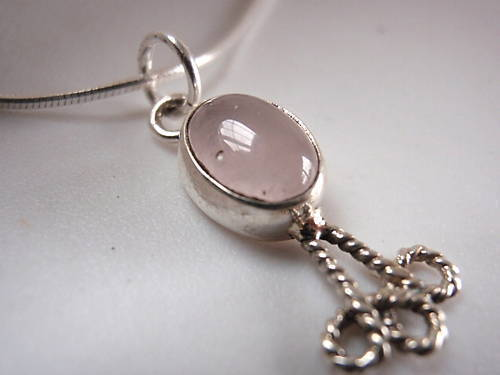 Primary image for New Rose Quartz Rope Adorned 925 Silver Necklace India