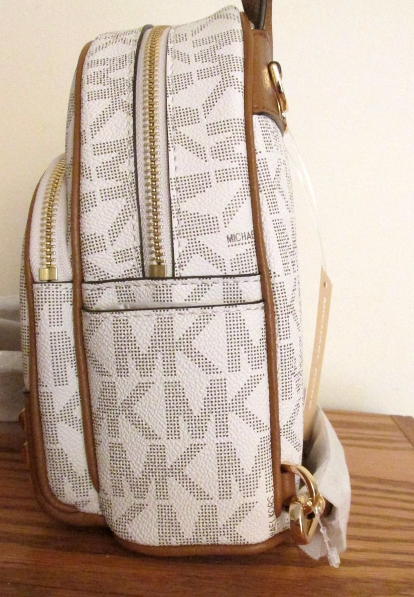 d67f45cd0e9e MICHAEL KORS Studded ABBEY XS BACKPACK ~ Vanilla PVC & Acorn Leather ~ NWT