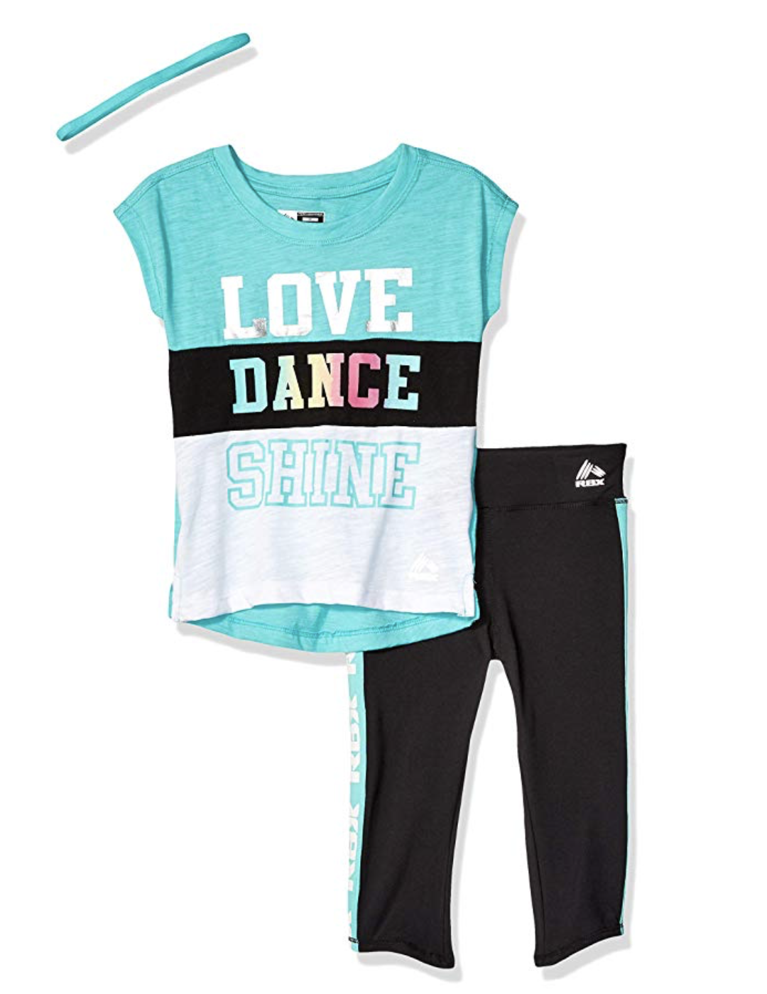 """NEW - 3/ps Set - RBX Active Top/Capri With Head Band """"LOVE DANCE SHINE""""  3T - $13.07"""