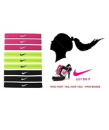 New Nike Sports band Colored Elastic Pony Tail Hair Ties 9-Pc Set Bin #10 - $20.00