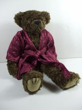 Ty Attic Treasure Brown Jointed Teddy Bear In Burgundy Sparkle Robe Tyro... - $7.99